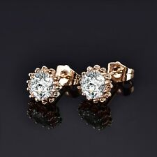 Ladies 18k Gold Filled Fashion Lab Diamond Crystal Flower Stud Earrings Jewelry