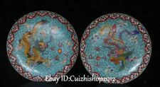 Rare China Cloisonne Enamel Bronze Fengshui Dragon Phoenix Screen Plate Bi Pair