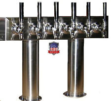 Stainless Steel Draft Beer Tower Made in USA - 6 Faucets - Air Cooled  -PT6SS