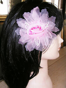 1 X Pince Barrette Broche à cheveux Fleur Rose clair 12 cm★NEUF Headpin