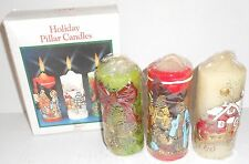 NEW Lot 3 Vintage Christmas Holiday Pillar Candles Bell Nativity Horse Carriage
