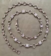 ITALIAN Silver Metal Chain Belt & Large Crystals - 40 1/2 inch length