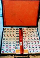 Vintage Extra thick tiles Mah Jong Set Chinese Bakelite 146 Tiles with case