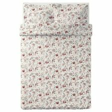 Ikea Full Double Queen Duvet Cover with 2 Pillowcases Set White Pink Gray Floral