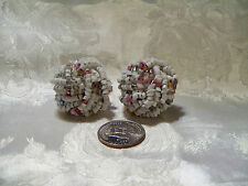 """VINTAGE SEED BEAD MULTI-COLOR CLIP EARRINGS BIG&BOLD 1 1/2"""" AROUND GORGEOUS!"""