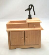 Wet Sink w/ Pump Oak D2678A miniature dollhouse furniture  1pc wood 1/12 scale