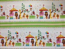 RR03 Rainbow Zoo Babies Retro Circus Animals Border Stripe Cotton Quilt Fabric