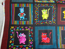 Loralie Cat Panel Cool Cats fabric colorful framed black dots stripe cotton