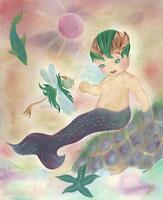 MERMAID IRISH BOY CHILD DOLPHIN STARFISH DRAGONFLY FISH OCEAN SEA MOSS PAINTING