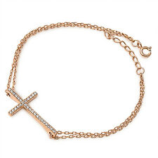 HOT Rose Gold Plated Sideways Cz Cross .925 Sterling Silver Bracelet