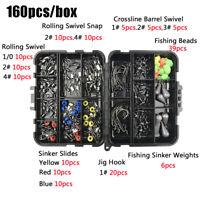 tackle box Swivels Snaps Fishing Accessories Kit Sinker weights Jig Hooks
