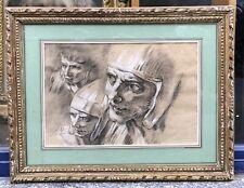 Dessin Ancien Portrait Étude Têtes Soldats Atelier François Boucher XVIIIe