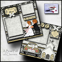 WEDDING ~  2 premade scrapbook pages paper piecing layout printed BRIDE ~ Cherry
