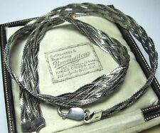 """Vintage 925 plata esterlina firmado 15.13 Grms Tejido 15.75"""" Gargantilla Cadena Collar"""