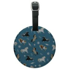 Frolicking Horses Pattern Round Leather Luggage Card Suitcase Carry-On ID Tag