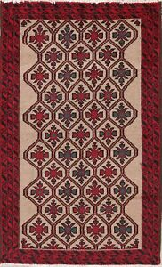 Balouch Oriental Rug Wool Geometric Hand-Knotted 4 x 6 Afghan Carpet CLEARANCE
