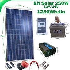 Kit Solar 250w Hora Inversor 1000w AGM 100Ah para un instalacion pequeña