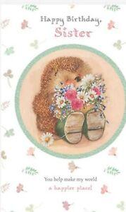 Hallmark Country Companions Sister Birthday Card Hedgehog Design