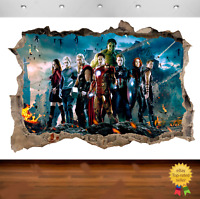 Marvel Avengers Super Heros Hulk 3d Smashed Wall View Sticker Poster Vinyl Z637