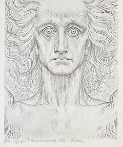 Fidus. Erzengel Michael Antlitz. Symbolismus, 1916. Signiert, Widmung.