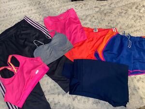 Lot of 7 XL athletic tops, pants, bras, shorts. Adidas, Avia. more