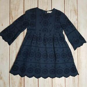 ZARA Girls Size 10 Navy Blue Swiss Embroidered Eyelet Dress Large