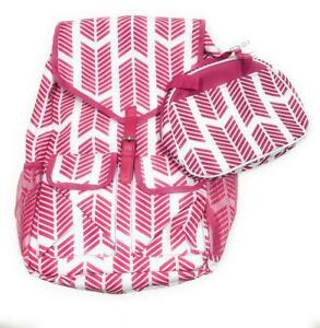 """18"""" Laptop Backpack Chevron Arrow Girl Book Large Bag School Lunch Case Box Pink"""