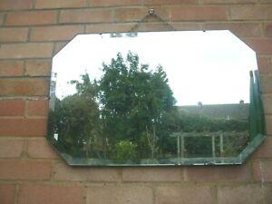 "VINTAGE Frameless Bevelled Wall Mirror 29"" x 19""  74cm x 48cm"