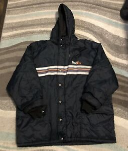 FEDEX Stan Herman Vintage Hooded Uniform Jacket Reflective Quilted Lined XXL