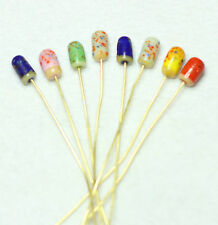 8 INDIAN LAMPWORK GOLD COLOURED HEAD PINS 60mm/HEAD 10x5mm  ASSORTED (BBF1041)