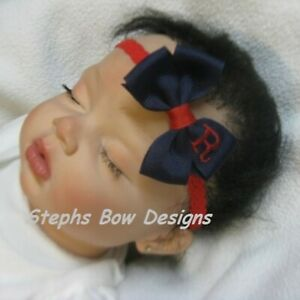 Navy Blue w/ Red Monogram Dainty Hair Bow Headband Personalized Preemie Toddler