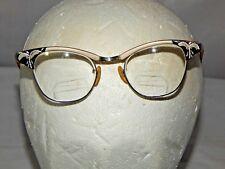 Vintage US Optical Cat Eye Glasses 5 1/2 Rhinestones Cateye 12K GF costume