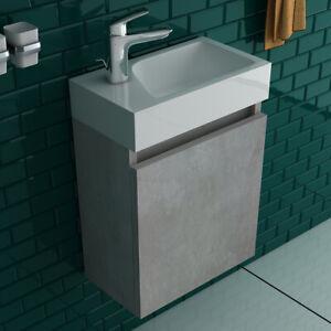 Badmöbel SET komplett vormontiert Handwaschbecken mit Unterschrank Grau Gäste WC
