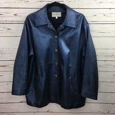 St.John Sport Womens Leather Jacket Size Large Blue Metallic Coat Gold Buttons