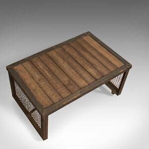 Vintage Industrial Coffee Table, English, Handmade, Steel, Oak, 20th Century