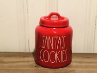 Rae Dunn Christmas By Magenta SANTA'S COOKIES Chubby Farmhouse Red Canister