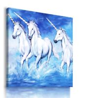 PAINTING DRAWING UNICORNS VISUAL ART PRINT Canvas Wall Picture  R17 MATAGA