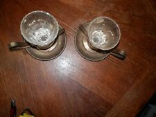 Vintage Pair of Brass Candle Holders w/Crystal Scounces,