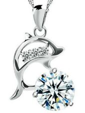 Sterling Silver Dolphin Solitaire Pendant