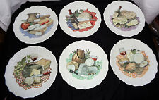 """6 ROCHARD Limoges FRANCE  7 1/2"""" Wine/Cheese/Salad Plates"""