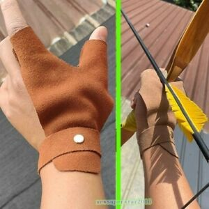 Thumb Index Finger Gloves 2 Fingers Cover Guard For Archery Hold Push Bow Hand