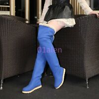 Womens Flat Heel Over Knee High Thigh Long Tall Boots Winter Fur Suede Shoes nEW