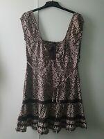 Jane Norman Size 14 Brown Mix Faux Lace Up Milkmaid Dress Retro Y2K