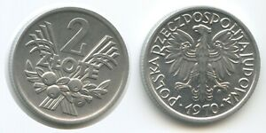 G8821 - Poland 2 Zlote 1970 Y#46 XF Scarce Year Polen Polskich Polska