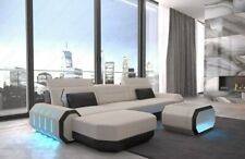 Eckcouch Polstersofa modern ROMA L Form Design Polster Ottomane LED Beleuchtung