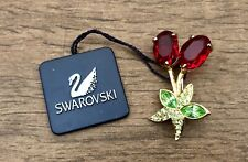 NWT Swarovski Signed Gold Plated Red/Green Flower Bunch Brooch Pin