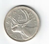 CANADA 1941 25 CENTS QUARTER KING GEORGE VI CANADIAN .800 SILVER COIN