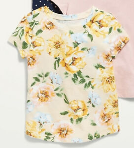 Old Navy Toddler Girls ~ Yellow Floral ~ Short Sleeve Tee ~ Size 12-18M - 5T