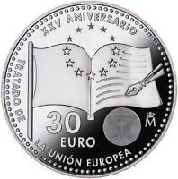 OFERTA 2017 ESPAÑA 30 EUROS PLATA  XXV ANIV UNION EUROPEA,SPANIEN,SPAIN,ESPANHA