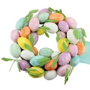 Martha Stewart Easter Egg Spring Ring Wreath Pastel Pink Blue Green Yellow